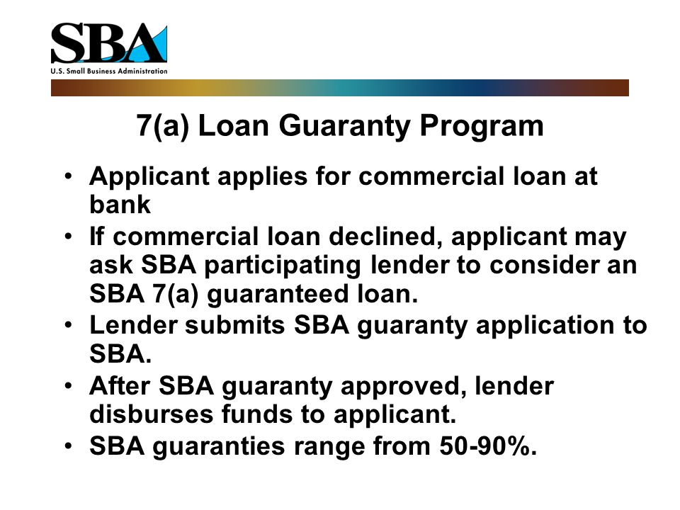 7(a) Loan Guaranty Program Applicant applies for commercial loan at bank If commercial loan declined, applicant may ask SBA participating lender to consider an SBA 7(a) guaranteed loan.