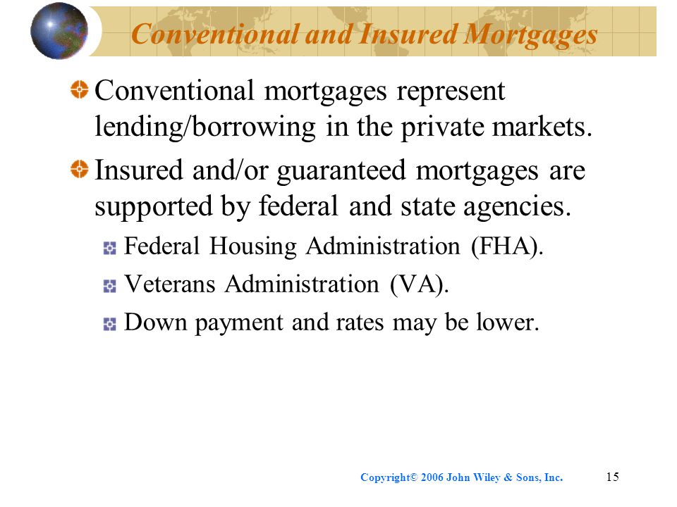 Copyright© 2006 John Wiley & Sons, Inc.15 Conventional and Insured Mortgages Conventional mortgages represent lending/borrowing in the private markets.