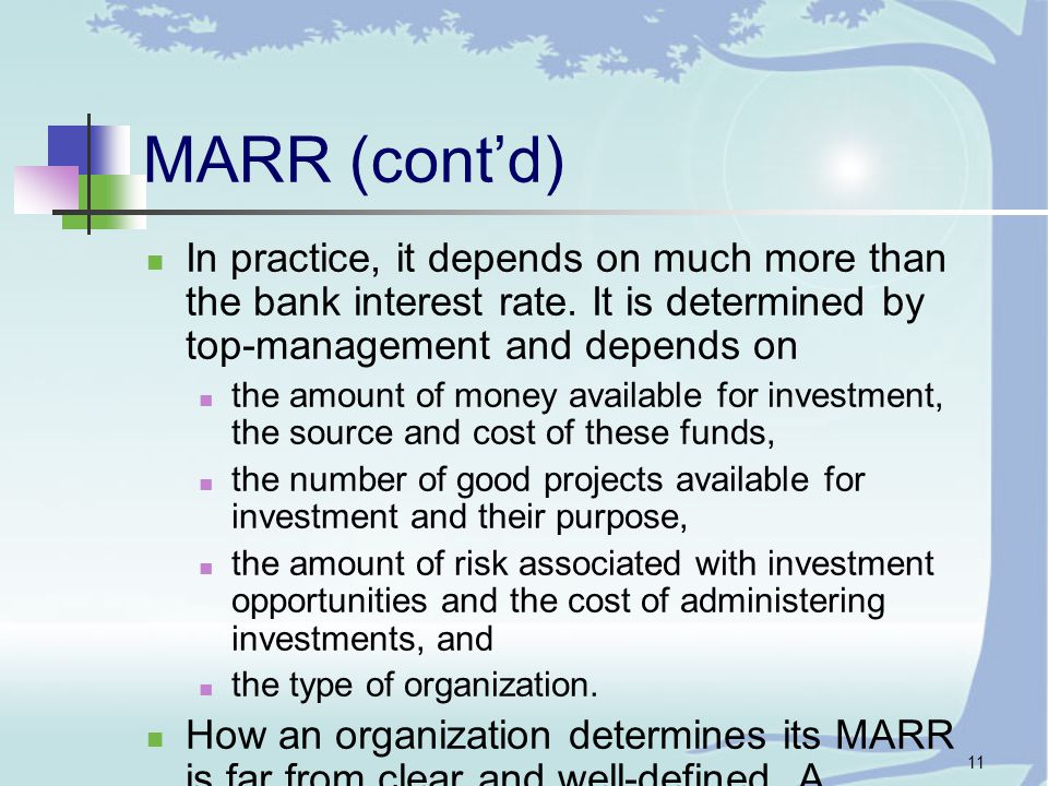 11 MARR (cont'd) In practice, it depends on much more than the bank interest rate.