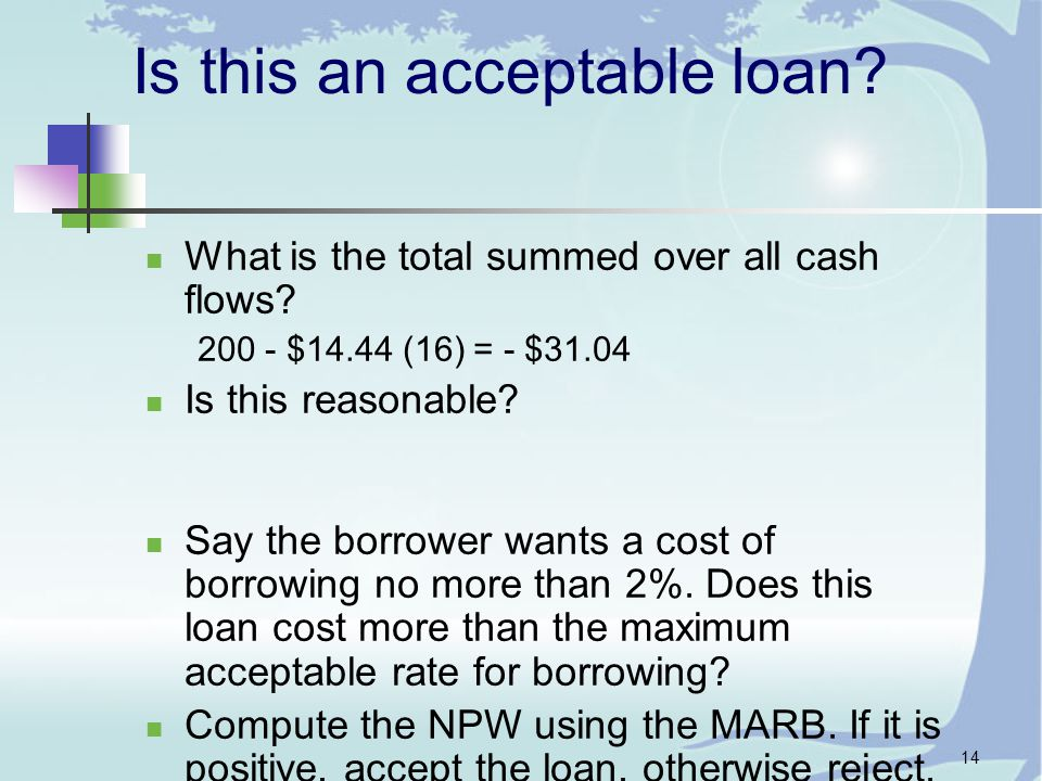 14 Is this an acceptable loan. What is the total summed over all cash flows.