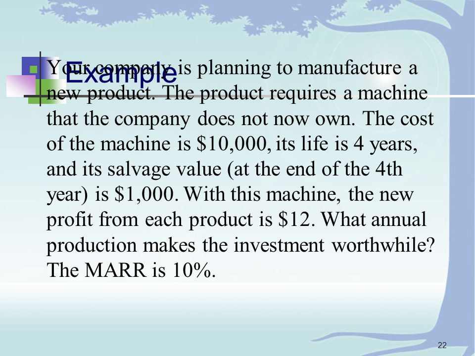 22 Example Your company is planning to manufacture a new product.