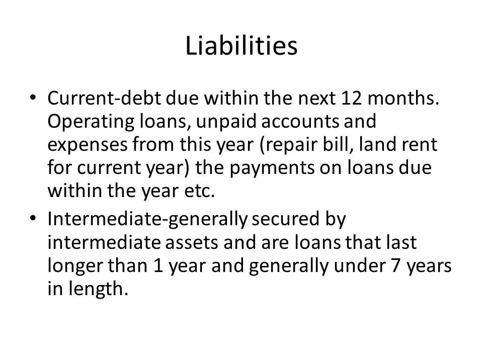 Liabilities Current-debt due within the next 12 months.