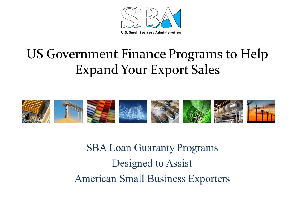 US Government Finance Programs to Help Expand Your Export Sales SBA Loan Guaranty Programs Designed to Assist American Small Business Exporters
