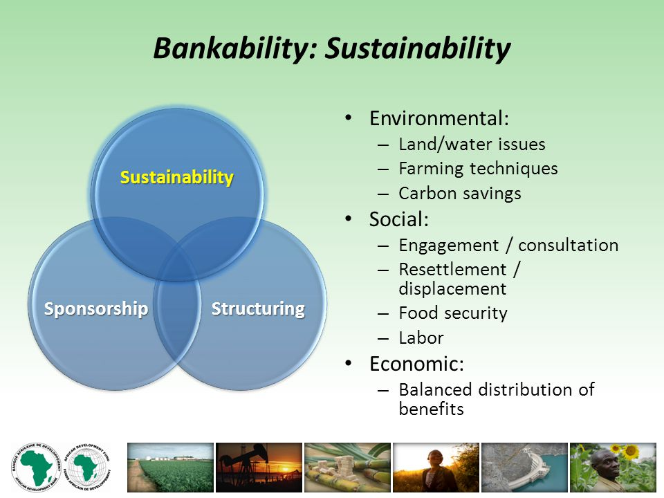 Bankability: Sustainability Environmental: – Land/water issues – Farming techniques – Carbon savings Social: – Engagement / consultation – Resettlement / displacement – Food security – Labor Economic: – Balanced distribution of benefits StructuringSponsorship