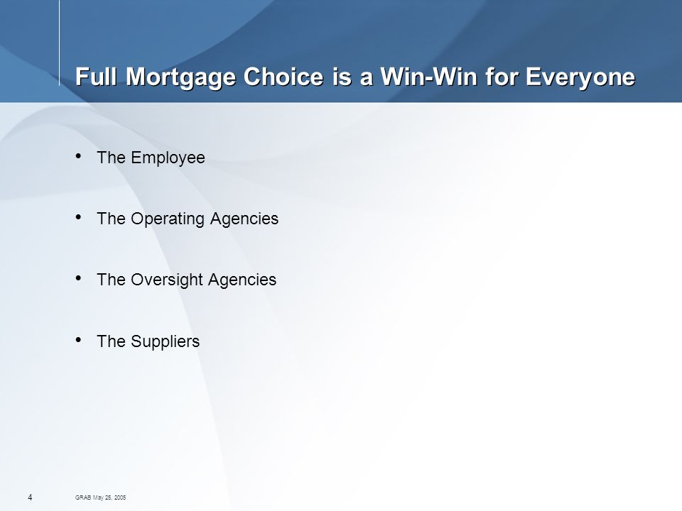 GRAB May 25, Full Mortgage Choice is a Win-Win for Everyone The Employee The Operating Agencies The Oversight Agencies The Suppliers
