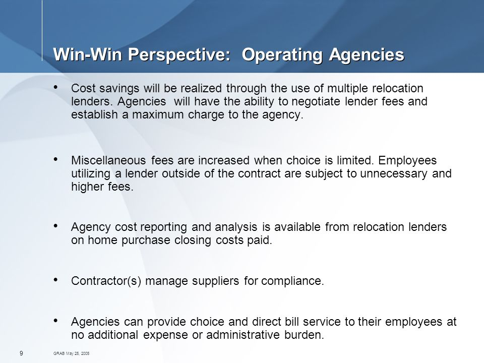GRAB May 25, Win-Win Perspective: Operating Agencies Cost savings will be realized through the use of multiple relocation lenders.
