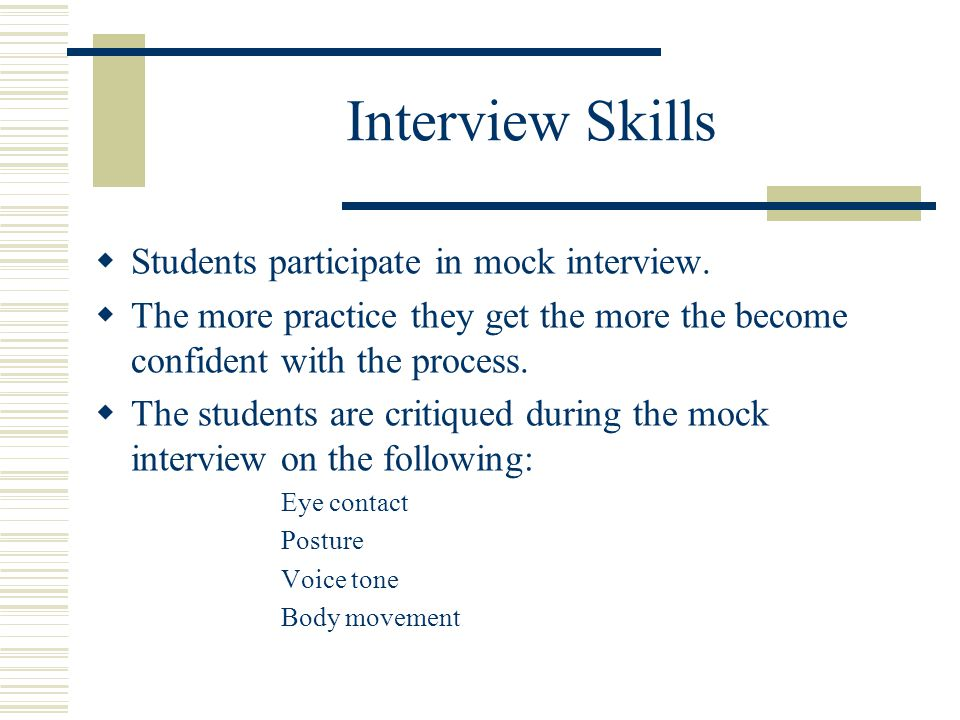 Interview Skills  Students participate in mock interview.
