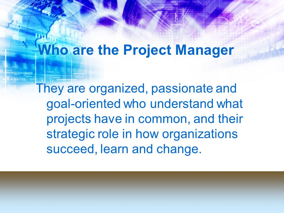 Who are the Project Manager They are organized, passionate and goal-oriented who understand what projects have in common, and their strategic role in how organizations succeed, learn and change.