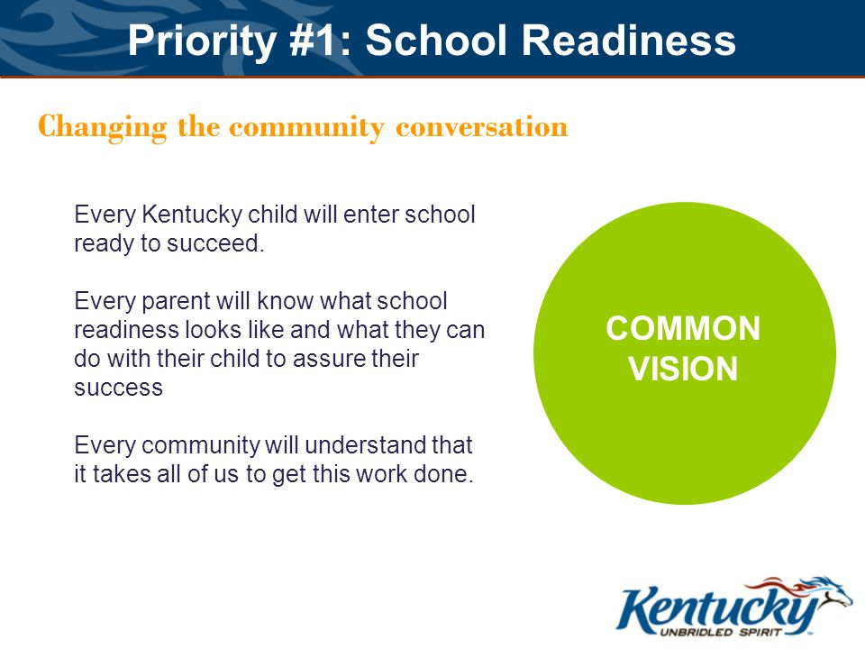 Priority #1: School Readiness Changing the community conversation COMMON VISION Every Kentucky child will enter school ready to succeed.