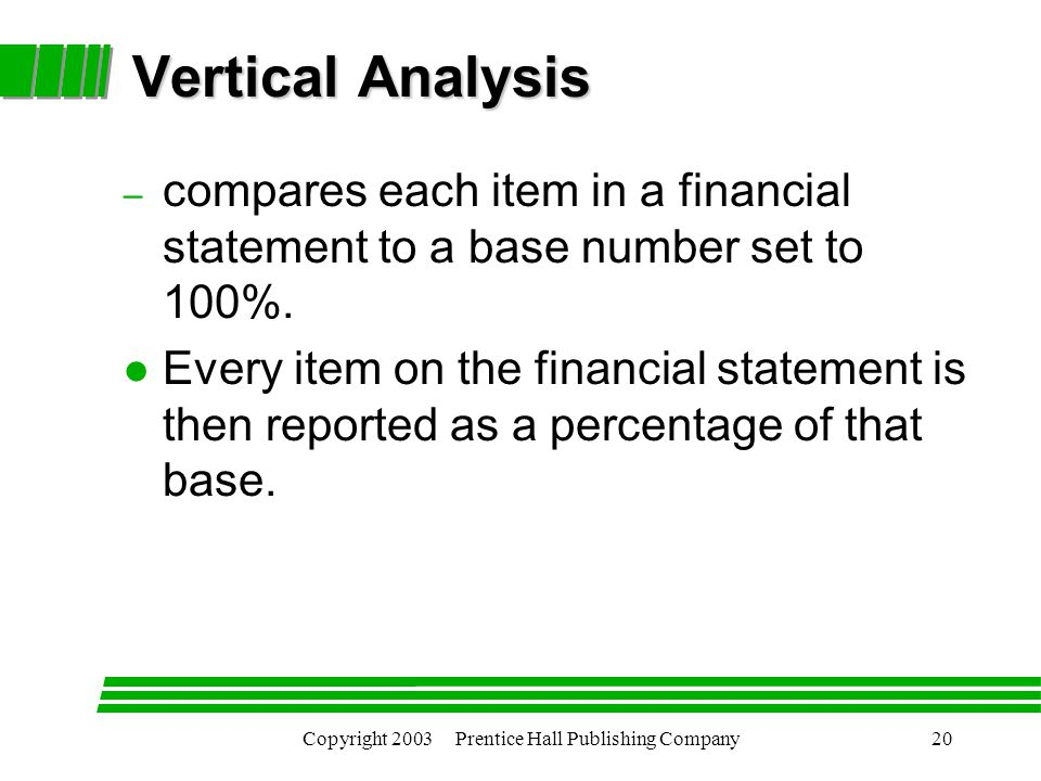 Copyright 2003 Prentice Hall Publishing Company20 Vertical Analysis – compares each item in a financial statement to a base number set to 100%.