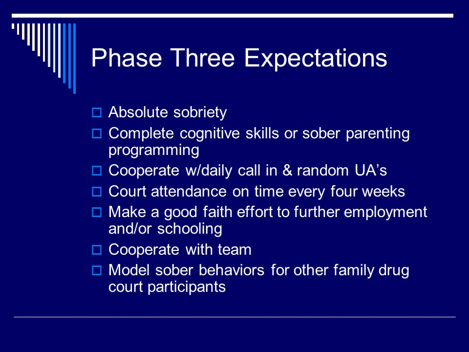 Phase Three Expectations  Absolute sobriety  Complete cognitive skills or sober parenting programming  Cooperate w/daily call in & random UA's  Court attendance on time every four weeks  Make a good faith effort to further employment and/or schooling  Cooperate with team  Model sober behaviors for other family drug court participants