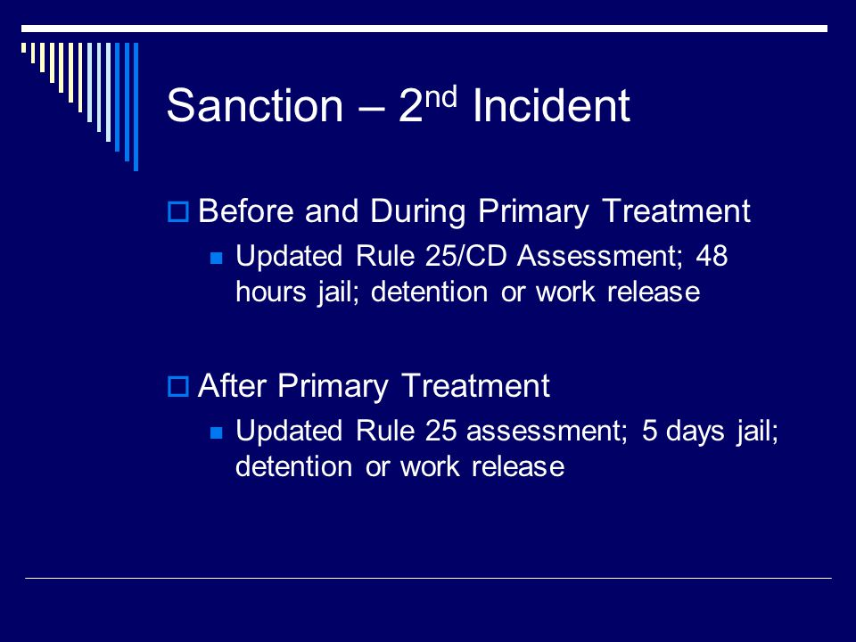 Sanction – 2 nd Incident  Before and During Primary Treatment Updated Rule 25/CD Assessment; 48 hours jail; detention or work release  After Primary Treatment Updated Rule 25 assessment; 5 days jail; detention or work release