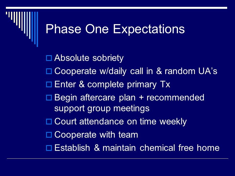 Phase One Expectations  Absolute sobriety  Cooperate w/daily call in & random UA's  Enter & complete primary Tx  Begin aftercare plan + recommended support group meetings  Court attendance on time weekly  Cooperate with team  Establish & maintain chemical free home