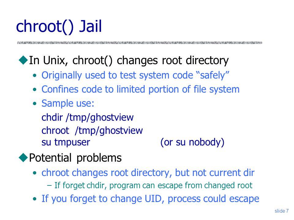 Slide 1 Vitaly Shmatikov CS 380S UNIX Security: setuid and chroot