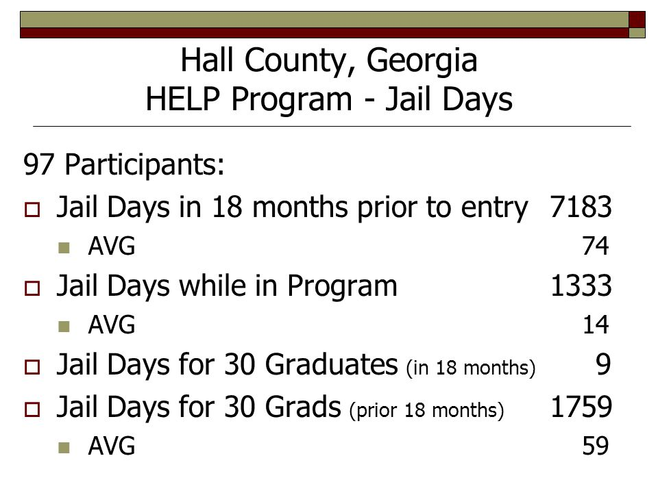 Hall County, Georgia HELP Program - Jail Days 97 Participants:  Jail Days in 18 months prior to entry7183 AVG 74  Jail Days while in Program1333 AVG 14  Jail Days for 30 Graduates (in 18 months) 9  Jail Days for 30 Grads (prior 18 months) 1759 AVG 59