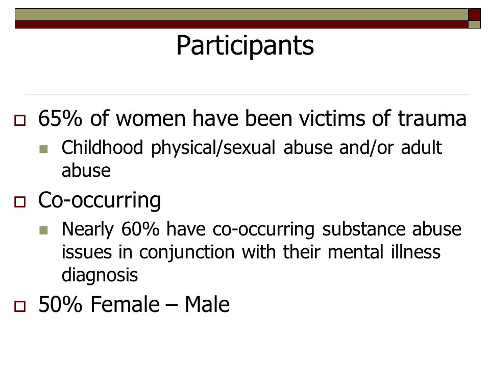 Participants  65% of women have been victims of trauma Childhood physical/sexual abuse and/or adult abuse  Co-occurring Nearly 60% have co-occurring substance abuse issues in conjunction with their mental illness diagnosis  50% Female – Male