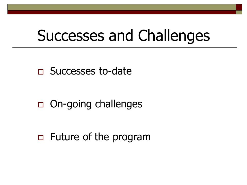 Successes and Challenges  Successes to-date  On-going challenges  Future of the program