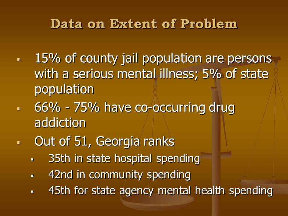Data on Extent of Problem  15% of county jail population are persons with a serious mental illness; 5% of state population  66% - 75% have co-occurring drug addiction  Out of 51, Georgia ranks  35th in state hospital spending  42nd in community spending  45th for state agency mental health spending