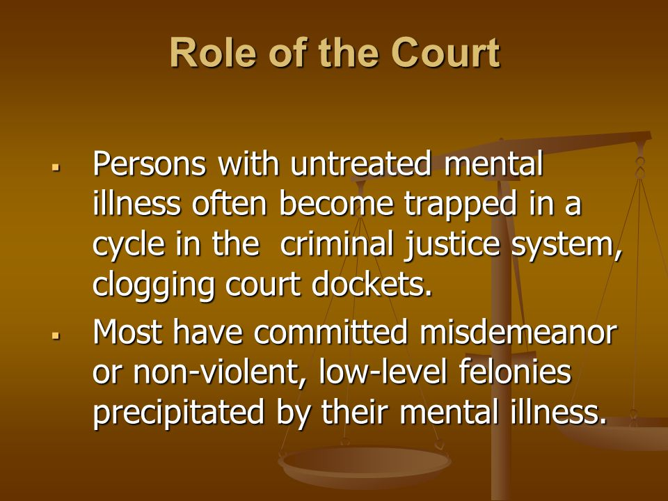 Role of the Court  Persons with untreated mental illness often become trapped in a cycle in the criminal justice system, clogging court dockets.