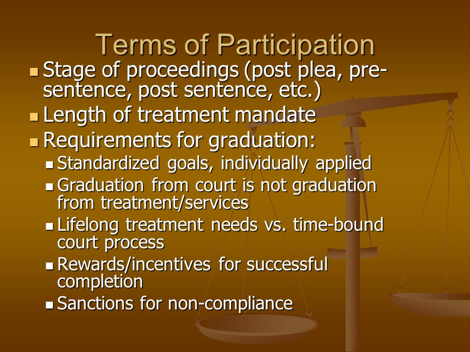 Terms of Participation Stage of proceedings (post plea, pre- sentence, post sentence, etc.) Stage of proceedings (post plea, pre- sentence, post sentence, etc.) Length of treatment mandate Length of treatment mandate Requirements for graduation: Requirements for graduation: Standardized goals, individually applied Standardized goals, individually applied Graduation from court is not graduation from treatment/services Graduation from court is not graduation from treatment/services Lifelong treatment needs vs.