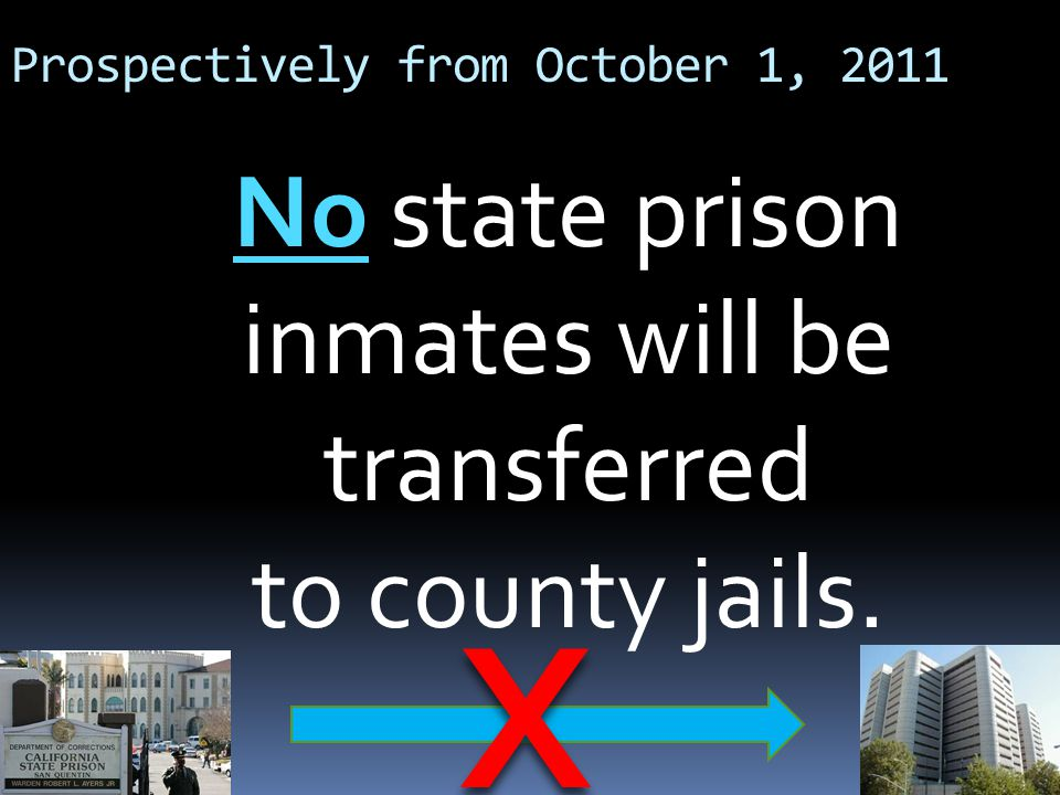 Prospectively from October 1, 2011 No state prison inmates will be transferred to county jails. X