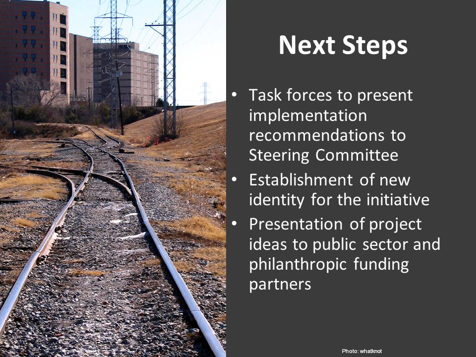 Next Steps Task forces to present implementation recommendations to Steering Committee Establishment of new identity for the initiative Presentation of project ideas to public sector and philanthropic funding partners Photo: whatknot