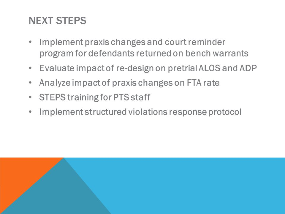 NEXT STEPS Implement praxis changes and court reminder program for defendants returned on bench warrants Evaluate impact of re-design on pretrial ALOS and ADP Analyze impact of praxis changes on FTA rate STEPS training for PTS staff Implement structured violations response protocol