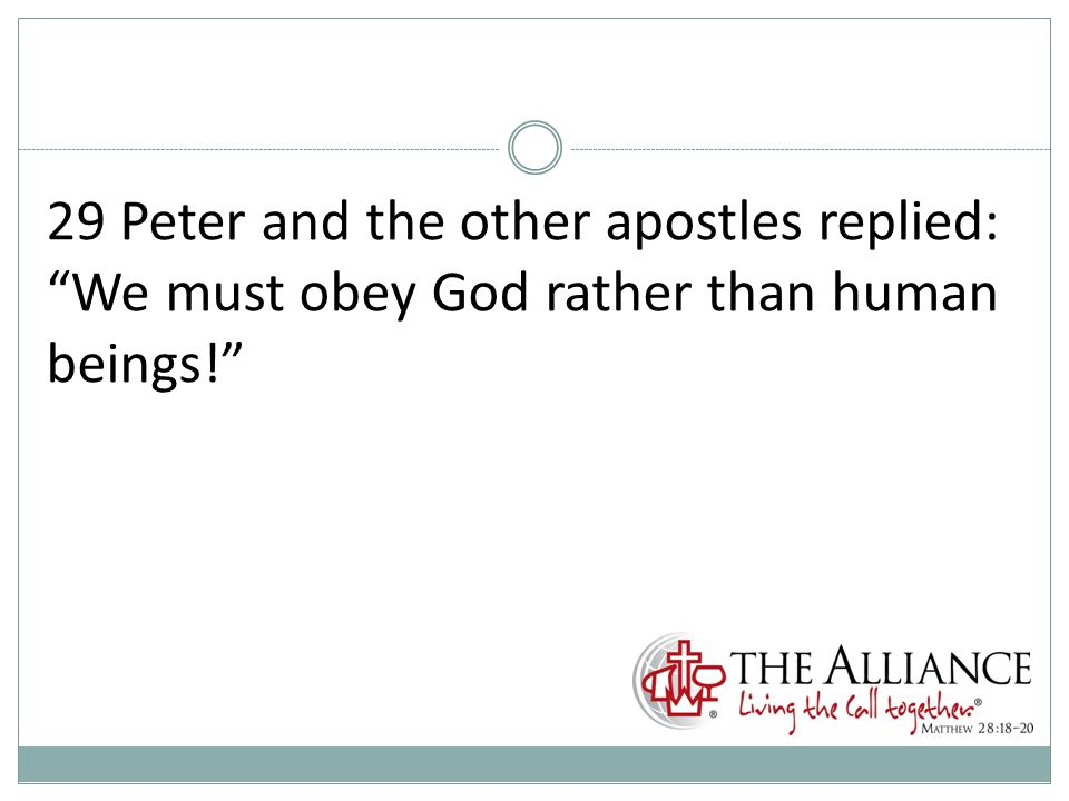 29 Peter and the other apostles replied: We must obey God rather than human beings!