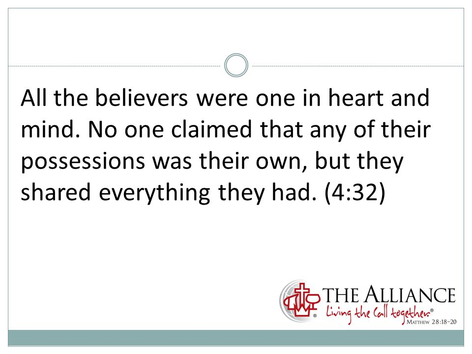 All the believers were one in heart and mind.