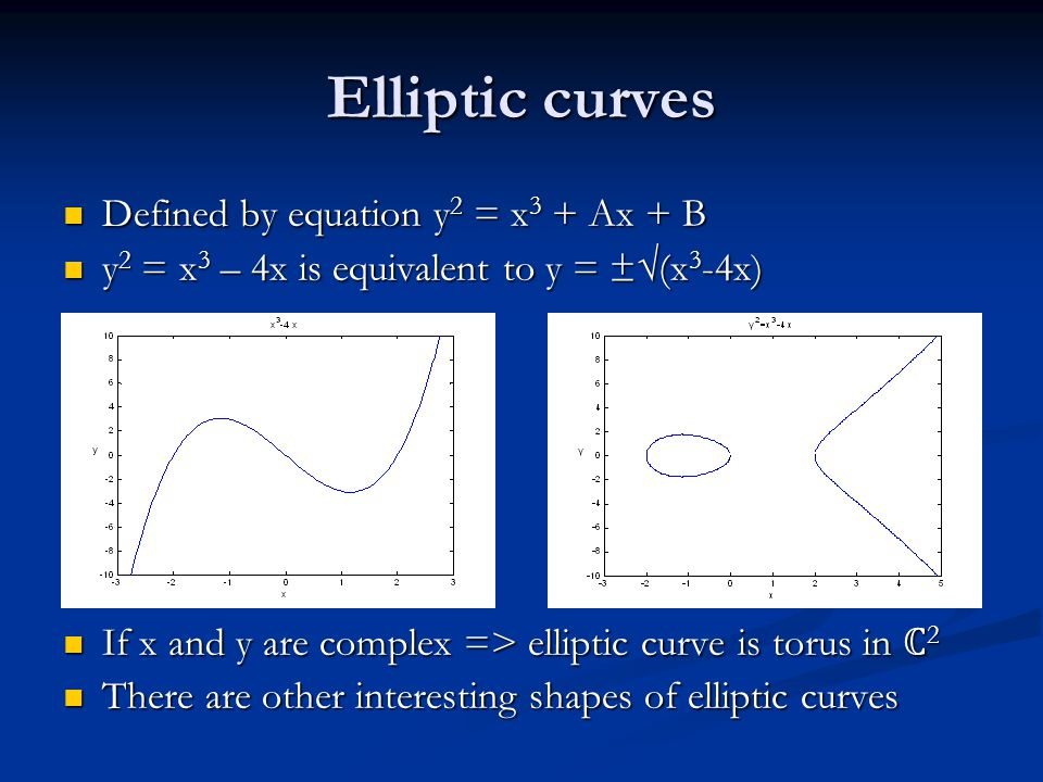 Elliptic curves Defined by equation y 2 = x 3 + Ax + B Defined by equation y 2 = x 3 + Ax + B y 2 = x 3 – 4x is equivalent to y = ±√(x 3 -4x) y 2 = x 3 – 4x is equivalent to y = ±√(x 3 -4x) If x and y are complex => elliptic curve is torus in ℂ 2 If x and y are complex => elliptic curve is torus in ℂ 2 There are other interesting shapes of elliptic curves There are other interesting shapes of elliptic curves