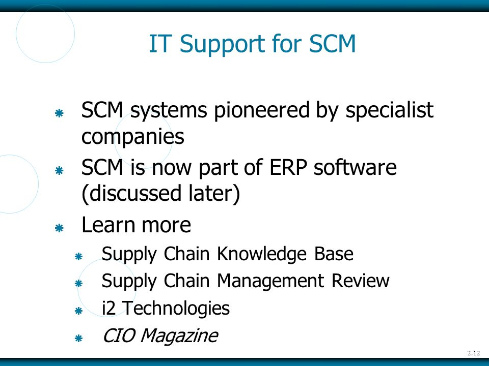 2-12 IT Support for SCM  SCM systems pioneered by specialist companies  SCM is now part of ERP software (discussed later)  Learn more  Supply Chain Knowledge Base  Supply Chain Management Review  i2 Technologies  CIO Magazine