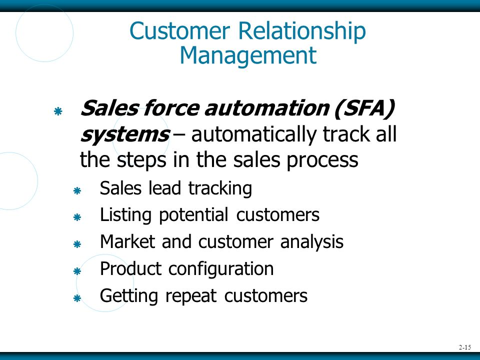 2-15 Customer Relationship Management  Sales force automation (SFA) systems – automatically track all the steps in the sales process  Sales lead tracking  Listing potential customers  Market and customer analysis  Product configuration  Getting repeat customers