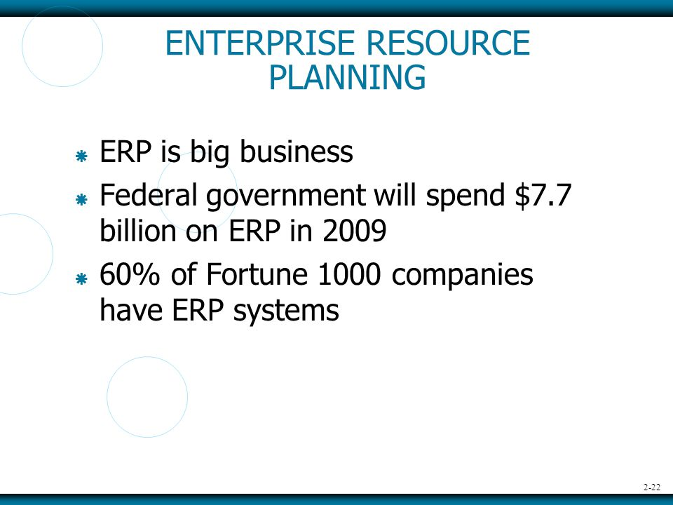 2-22 ENTERPRISE RESOURCE PLANNING  ERP is big business  Federal government will spend $7.7 billion on ERP in 2009  60% of Fortune 1000 companies have ERP systems