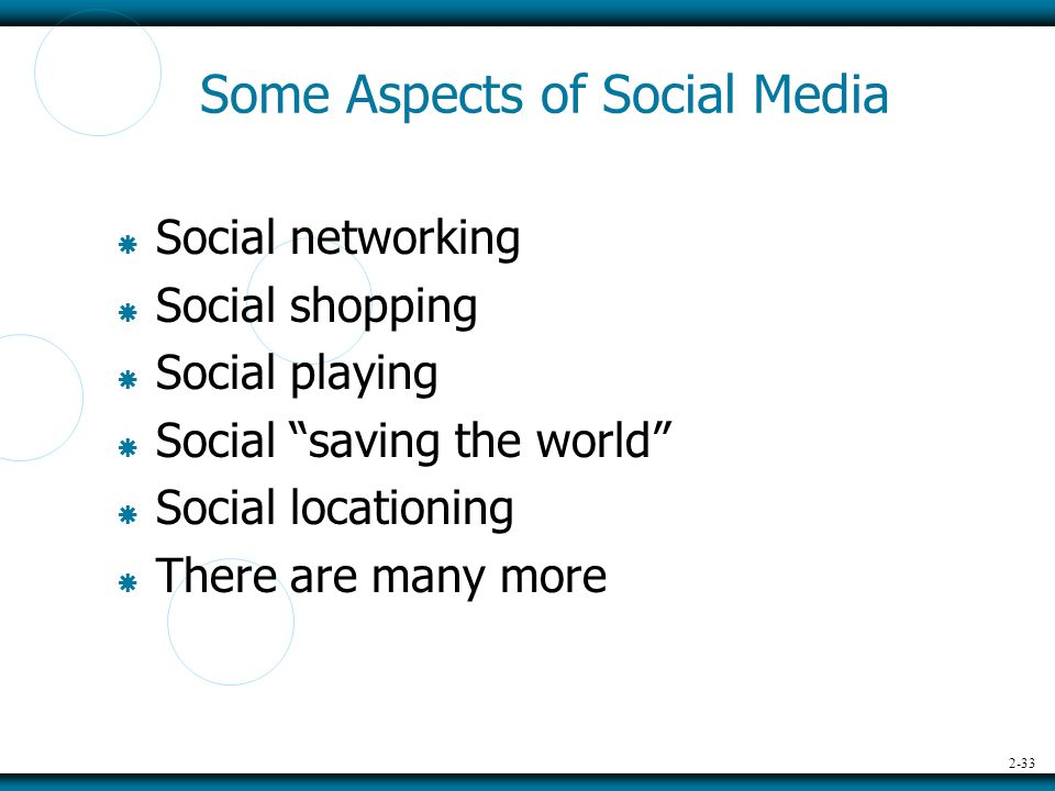 2-33 Some Aspects of Social Media  Social networking  Social shopping  Social playing  Social saving the world  Social locationing  There are many more