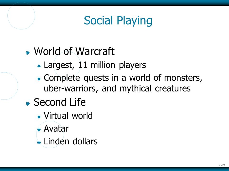2-39 Social Playing  World of Warcraft  Largest, 11 million players  Complete quests in a world of monsters, uber-warriors, and mythical creatures  Second Life  Virtual world  Avatar  Linden dollars