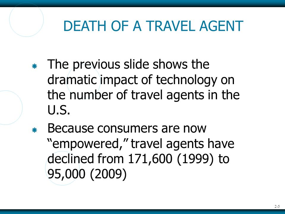 2-5  The previous slide shows the dramatic impact of technology on the number of travel agents in the U.S.