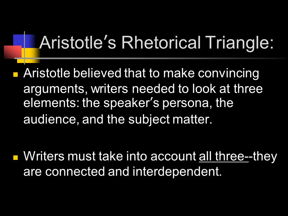 Aristotle's Rhetorical Triangle: Aristotle believed that to make convincing arguments, writers needed to look at three elements: the speaker's persona, the audience, and the subject matter.