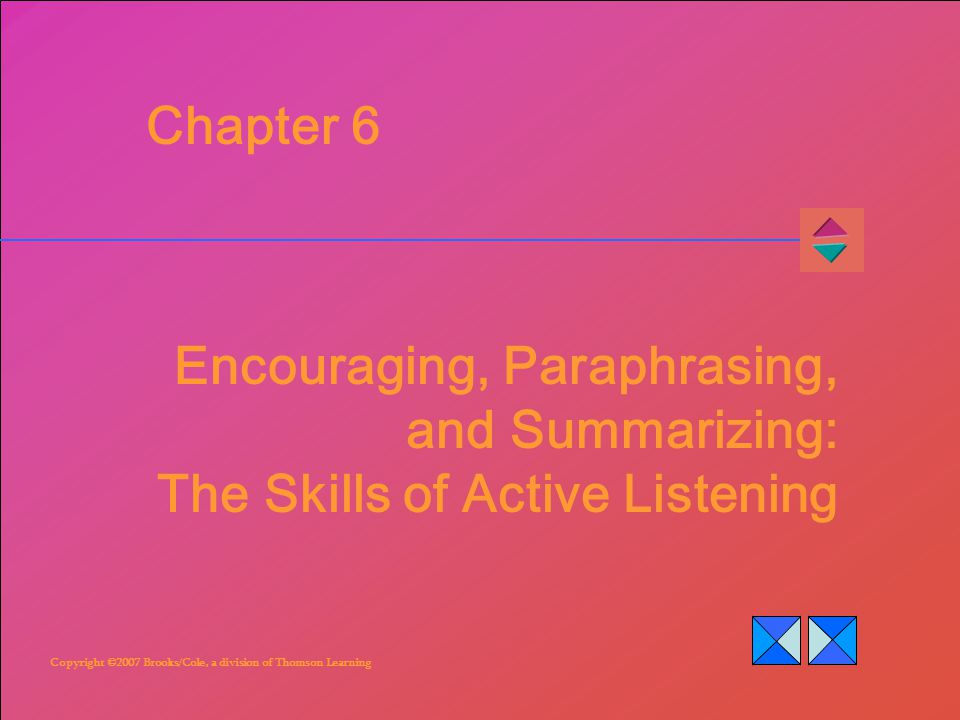 Copyright ©2007 Brooks/Cole, a division of Thomson Learning Chapter 6 Encouraging, Paraphrasing, and Summarizing: The Skills of Active Listening