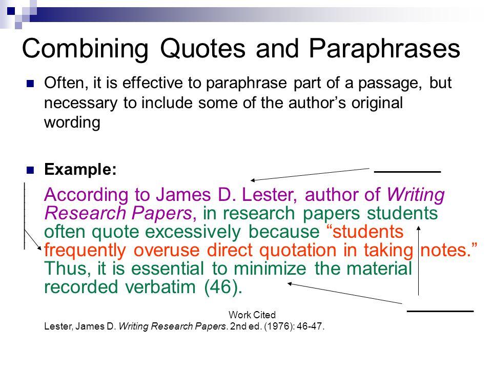 how do you paraphrase a passage