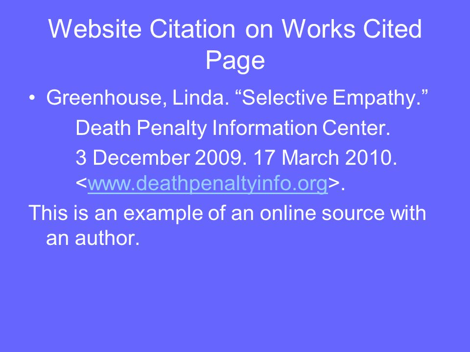 Website Citation on Works Cited Page Greenhouse, Linda.