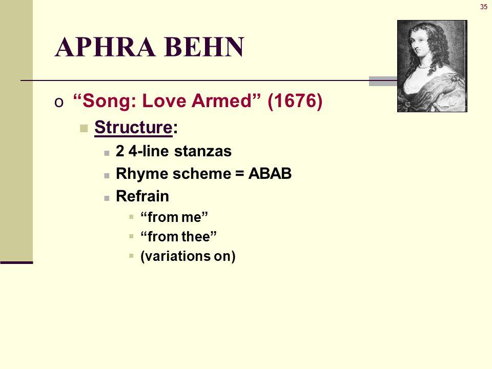 love armed aphra behn