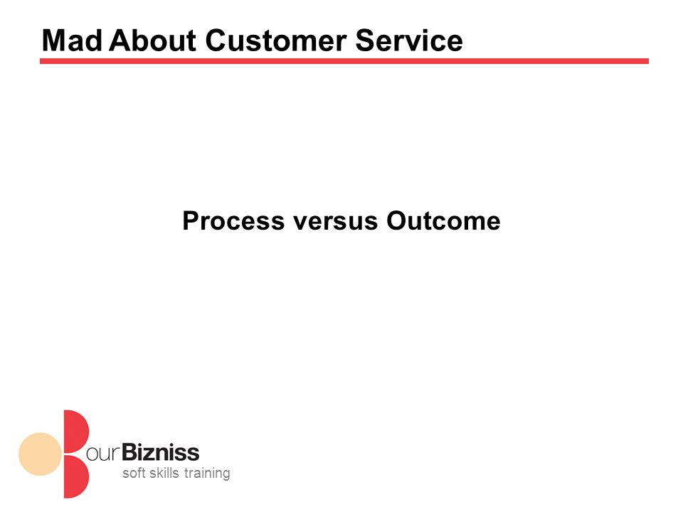 soft skills training Mad About Customer Service Process versus Outcome