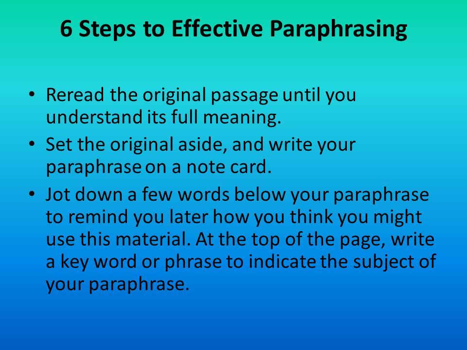 how to indicate paraphrasing