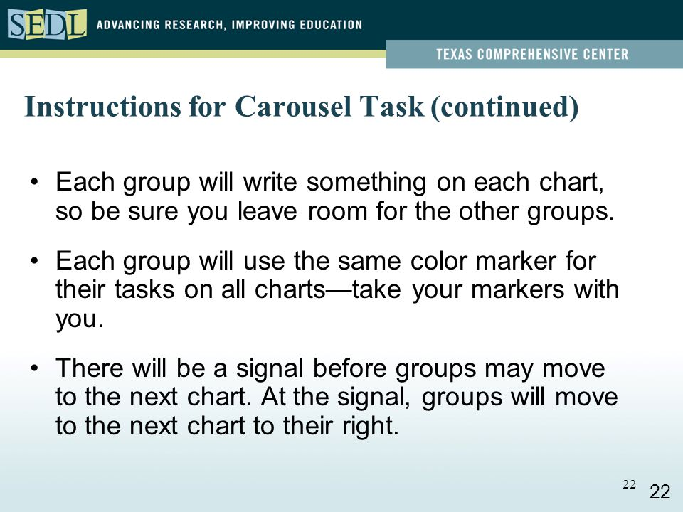 21 Instructions for Carousel Task There are 6 charts, one for each of the six PTLC steps.