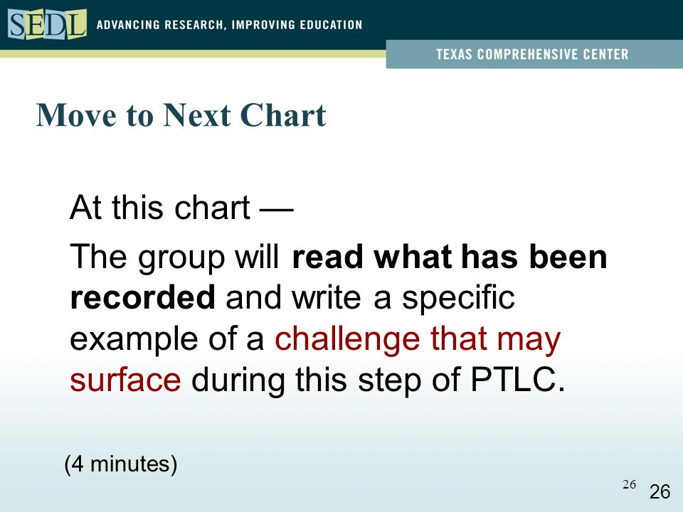 25 Move to Next Chart At this chart — The group will read what has been recorded and write a specific example of an activity that could happen in this step of PTLC in practice.