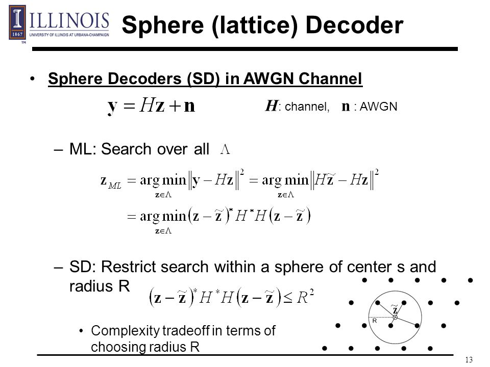 13 Sphere Decoders (SD) in AWGN Channel –ML: Search over all –SD: Restrict search within a sphere of center s and radius R Complexity tradeoff in terms of choosing radius R Sphere (lattice) Decoder H : channel, n : AWGN