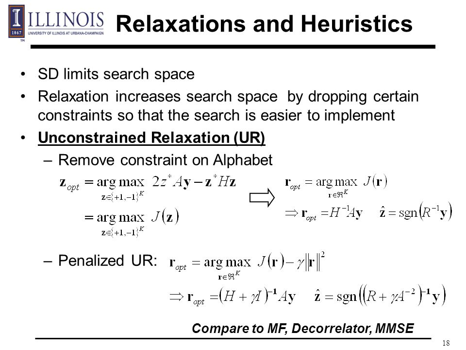 18 SD limits search space Relaxation increases search space by dropping certain constraints so that the search is easier to implement Unconstrained Relaxation (UR) –Remove constraint on Alphabet –Penalized UR: Compare to MF, Decorrelator, MMSE Relaxations and Heuristics