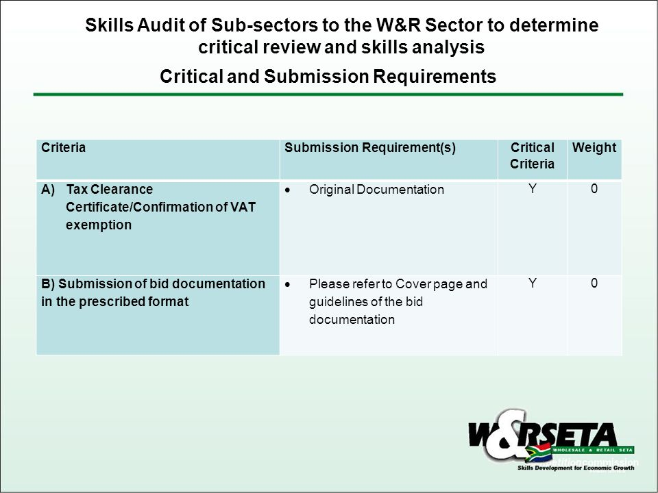 Critical and Submission Requirements Skills Audit of Sub-sectors to the W&R Sector to determine critical review and skills analysis CriteriaSubmission Requirement(s) Critical Criteria Weight A)Tax Clearance Certificate/Confirmation of VAT exemption  Original Documentation Y0 B) Submission of bid documentation in the prescribed format  Please refer to Cover page and guidelines of the bid documentation Y0