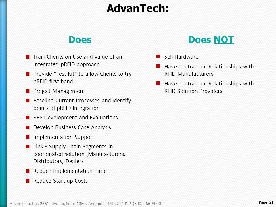 Page: 21 AdvanTech: Does  Train Clients on Use and Value of an Integrated pRFID approach  Provide Test Kit to allow Clients to try pRFID first hand  Project Management  Baseline Current Processes and Identify points of pRFID Integration  RFP Development and Evaluations  Develop Business Case Analysis  Implementation Support  Link 3 Supply Chain Segments in coordinated solution (Manufacturers, Distributors, Dealers  Reduce Implementation Time  Reduce Start-up Costs Does NOT Sell Hardware Have Contractual Relationships with RFID Manufacturers Have Contractual Relationships with RFID Solution Providers AdvanTech, Inc.