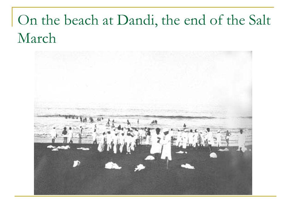 On the beach at Dandi, the end of the Salt March